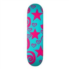Girly Teal Blue Hot Pink Stars Hearts Swirls Skate Decks | Skateboards for Girls
