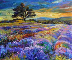 Lavender 24x20 inch original oil painting by Nikolov par artnikolov Plus