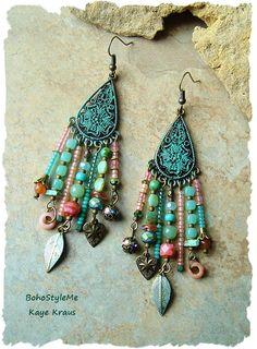 Boho Gypsy Assemblage Earrings, Colorful Bohemian Jewelry, Mixed Media, Nature Inspired, BohoStyleMe, Kaye Kraus