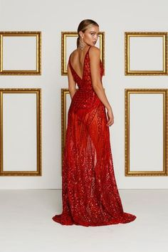 PREORDER ONLY-THIS ITEM IS DUE FOR DISPATCH LATE OCT-MID NOV Be the centre of attention in this limited edition ALAMOUR sheer sequin evening gown. Sequins bring