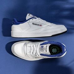 Reebok x Eric Emanuel Club C 85 White / Ultra Marine Credit : Asphaltgold — #reebok #clubc #sneakerhead #sneakersaddict #sneakers #kicks #footwear #shoes #fashion #style Latest Sneakers, Men's Sneakers, Custom Sneakers, Custom Shoes, Sneakers Fashion, Footwear Shoes, Keds, Reebok, Unisex