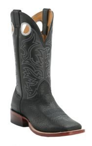 Cavender's Men's Black Twisted Bull Hide Double Welt Square Toe Western Boots | Cavender's