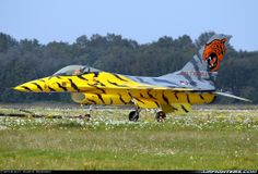 A second helping of Tiger Paint Scheme Aircraft: I just love it when fighter jets (or any other aircraft for that matter) are painted in. Aircraft Parts, Fighter Aircraft, Air Force Aircraft, Fighter Jets, Aviation World, Aviation Art, Military Jets, Military Aircraft, F 16 Falcon