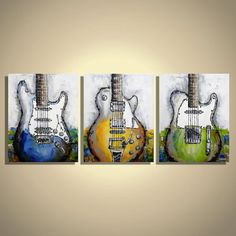 Guitar painting Music Art Music Instruments Guitar Art Original Painting on Canvas- Triptych by Magda Magier