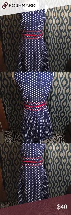 "NWOT Robbie Bee size 8 navy blue polka dot dress Never worn  Robbie Bee size 8  Blue with white hexagonal polka dots  Comes with red belt and red detailing around belt area  Side zipper  Thick straps for concealing bra Hits below the knee (I'm 5'4"")  97% cotton 3% spandex (bodice lining is 100% polyester)  Machine washable!!! Robbie Bee Dresses Midi"