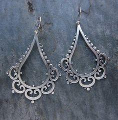 "Earrings | Sasha Bell. ""Ornate Tribal Drops"". Sterling silver"
