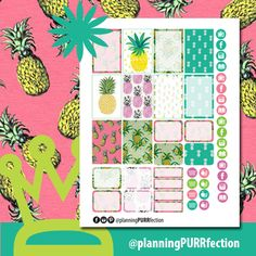 Free Printable Dreaming of Pineapples Planner Stickers from planningPURRfection Planner Diy, Free Planner, Goals Planner, Erin Condren Life Planner, Planner Ideas, Planner Pages, Happy Planner, Printable Planner Stickers, Free Printable