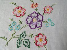 Vintage Linen Square Tablecloth. Large Tablecloth with Hand