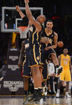 David West and George Hill celebrate the Pacers victory over the Lakers in LA.   Pacers 79, Lakers 77