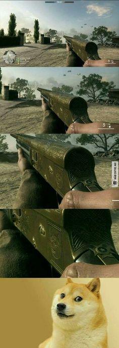 cão na arma do jogo...