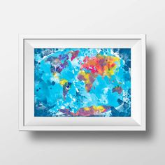 Watercolor world map print wall decor poster by BelugaStore