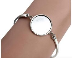 Makes 1 Complete Bracelets Round Base with Matching Glass Cabochon 10mm x 25mm Silver plated Bronze Bracelet setting GREAT QUALITY