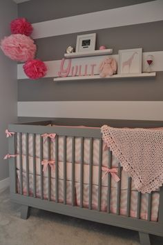 pink and grey nursery...cute alhough I would need a baby blue and grey room which would be cute too :)