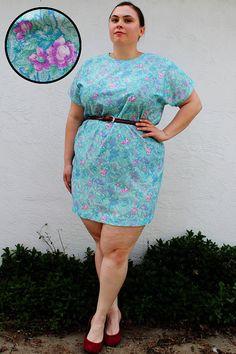 Plus Size  Vintage Pastel Floral Sheath Dress  by TheCurvyElle, $40.00