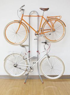 the Michaelango bike rack (no drilling or nailing necessary--gravity does the work).