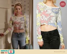 Carrie's comic printed cropped sweater on The Carrie Diaries. Outfit Details: http://wornontv.net/26777 #TheCarrieDiaries #fashion