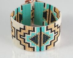 Items similar to Abiquiu Bead Loom Bracelet Artisanal Jewelry Southwestern Western Jewelry Beaded Bohemian Tribal Bright Colorful on Etsy Bead Loom Designs, Bead Loom Patterns, Bracelet Patterns, Beading Patterns, Bead Loom Bracelets, Woven Bracelets, Seed Bead Jewelry, Beaded Jewelry, Beaded Belts