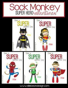 Lyndi from Ellie Bean Design: Sock Monkey Super Hero Valentines   Over The Big Moon
