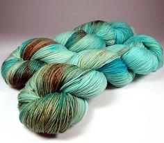 Speckled Hand Dyed Sock Yarn Aqua Blue Turquoise Brown  #handdyedyarn #dyeiscastyarns