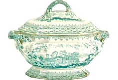Antique transferware tureen illustrated with architectural ruins and floral pattern on lid. West Indies Decor, Kings Table, Green China, British West Indies, White Stuff, Vintage Market, Cake Plates, Vintage China, Shades Of Green