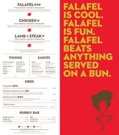 Hubbly Bubbly falafel shop restaurant branding | ABSOLUTELY FANTASTIC! not too busy, contrast catches you. I love it!