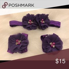 Purple baby girl headband and barefoot sandals New more colors available Accessories Hair Accessories