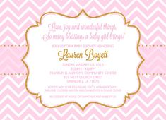 Custom Baby Shower Invitation Pink Gold Chevron by andyneal331