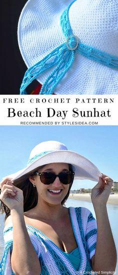 Beach Day Sunhat Free Crochet Pattern | #crochetstitch #crochet #crochetfreepatternsforlady #crochethat #crochetsunhat #freecrochetpatternsforsunhat