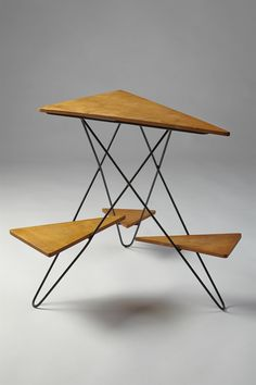 Anonymous; Painted Metal and Wood Plant Stand, 1950s.