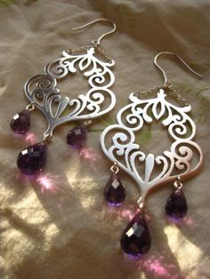 goddess of wine -amethyst and sterling silver scrollwork earrings