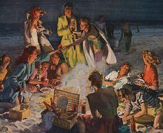 1947 Beer Belongs print ad Picnic on a California by Vividiom, $8.00