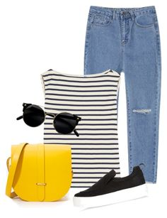 """""""Am back!"""" by samah ❤ liked on Polyvore featuring Yves Saint Laurent, The Cambridge Satchel Company and River Island"""