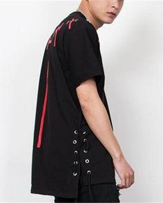 Hip hop black lace up t shirt for men short sleeve high low tops