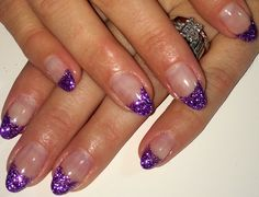 Purple French Mani Glitter Nail Art Almond Nails  Summer 2014 Gel Nails Design #ByMargarita