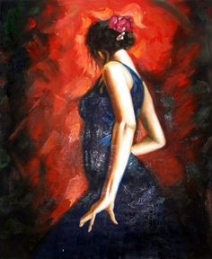 Spanish Flamenco Dancer - Original Oil Painting 20 x 24 Artist: Unknown  Size: 24 High x 20 Wide Canvas  Hand-painted, original oil painting onunstretchedcanvas.