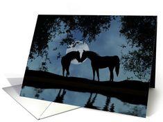 Horses card: horse in moonlight, elopement annoucement Card