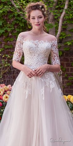rebecca ingram 2017 bridal half sleeves illusion jewel straight across neckline heavily embellished bodice romantic princess ball gown a  line wedding dress lace back chapel train (yvonne) zv
