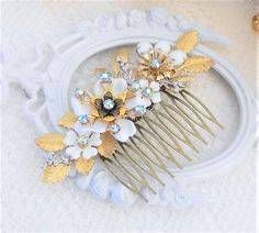 Gold Leaf Hair Comb Flower Hair Comb Floral Hair CombGold Leaf Hair Comb, Flower Hair Comb, Floral Hair Comb, Assemblage Hair Comb, Collage Hair Comb, Something Blue, Vintage Wedding Hair @ www.lisamariespiece.etsy.com