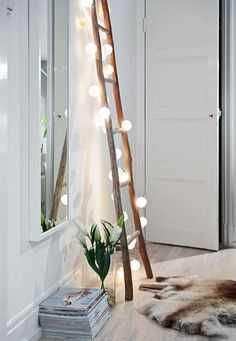 wooden ladder light bulps