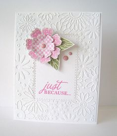 Lovely CAS designed card by Lin (Sending Hugs) - inlaid stitched diecut surrounded by embossed frame.