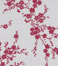 Keepsake Calico Fabric Red Cherry Blossoms On Gray