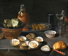 Still Life with Oysters and Pastries - Osias Beert - WikiPaintings.org