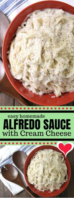 Quick and easy homemade Alfredo Sauce with Cream Cheese recipe, perfect for chicken, pasta (like penne and fettuccini), shrimp, and other things! alfredo sauce easy Alfredo Sauce with Cream Cheese Alfredo Sauce With Cream Cheese Recipe, Alfredo Sauce With Milk, Easy Homemade Alfredo Sauce, Salsa Alfredo, Cream Sauce Pasta, Cheese Sauce For Pasta, Fettucine Alfredo, Pasta Sauce Recipes, Homemade Sauce