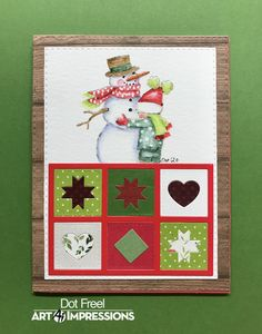Art Impressions Stamps, Watercolor Christmas Cards, Green Quilt, Watercolor Design, Winter Cards, Card Maker, Dots, Quilts, Holiday Decor