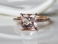 Princess 8x8mm Morganite Ring 14K Rose White Gold Pave Diamond Wedding Ring /Engagement Ring/ Promise Ring/ Anniversary Ring/ Fine Ring by ByLaris on Etsy https://www.etsy.com/listing/219797303/princess-8x8mm-morganite-ring-14k-rose