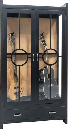Amish Guitar Display Cabinet A unique design from Amish country. A perfect place for safely housing the guitar. Crafted in choice of wood and finish. Amish Furniture, Steel Furniture, Furniture Movers, Wood Cabinets, Curio Cabinets, Display Cabinets, Guitar Display, Guitar Cabinet, Quarter Sawn White Oak