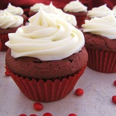 I found this recipe online.  I was surprised to know what ingredients go into red velvet cupcakes.  I would not have thought of chocolate and vinegar as being in them.    If you use the liquid red food coloring, it will take more than 1/2 teaspoon of coloring.  Tweak the red coloring by adding more as needed.