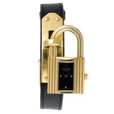 #Hermes #gold plated #Kelly #Watch with black leather strap. Available at lxrco.com for $799