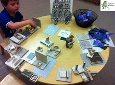 Tile constructions: We build with many materials throughout the year. Here we are making buildings with ceramic tiles of various shapes and sizes! —