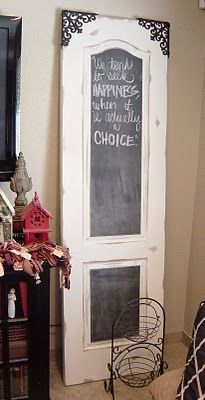 When its a chalkboard door for a -Bar/ cafe /bistro or for a restaurant? Diy Cabinet Doors, Diy Cabinets, Repurposed Furniture, Painted Furniture, Tienda Natural, Recycled Door, Shutter Doors, Diy Recycle, Old Doors